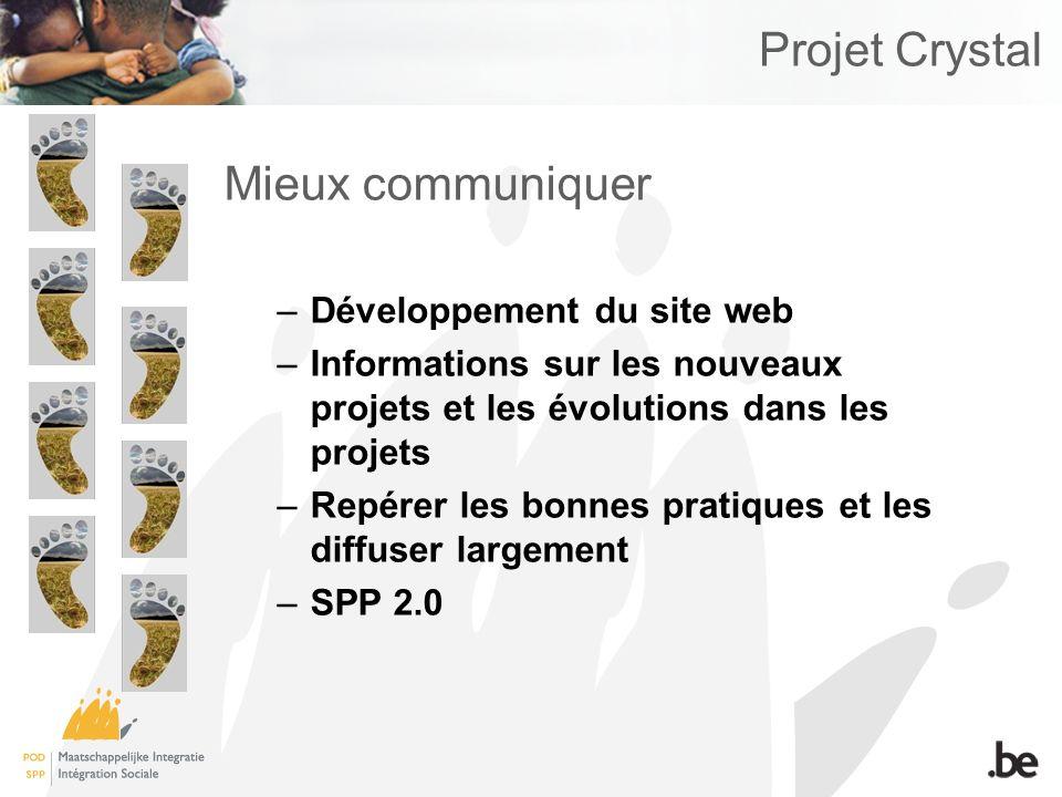 Projet Crystal Mieux communiquer –Développement du site web –Informations sur les nouveaux projets et les évolutions dans les projets –Repérer les bonnes pratiques et les diffuser largement –SPP 2.0