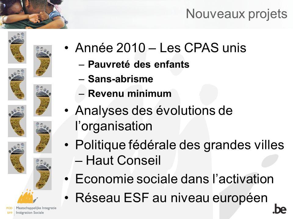 Nouveaux projets Année 2010 – Les CPAS unis –Pauvreté des enfants –Sans-abrisme –Revenu minimum Analyses des évolutions de lorganisation Politique fédérale des grandes villes – Haut Conseil Economie sociale dans lactivation Réseau ESF au niveau européen