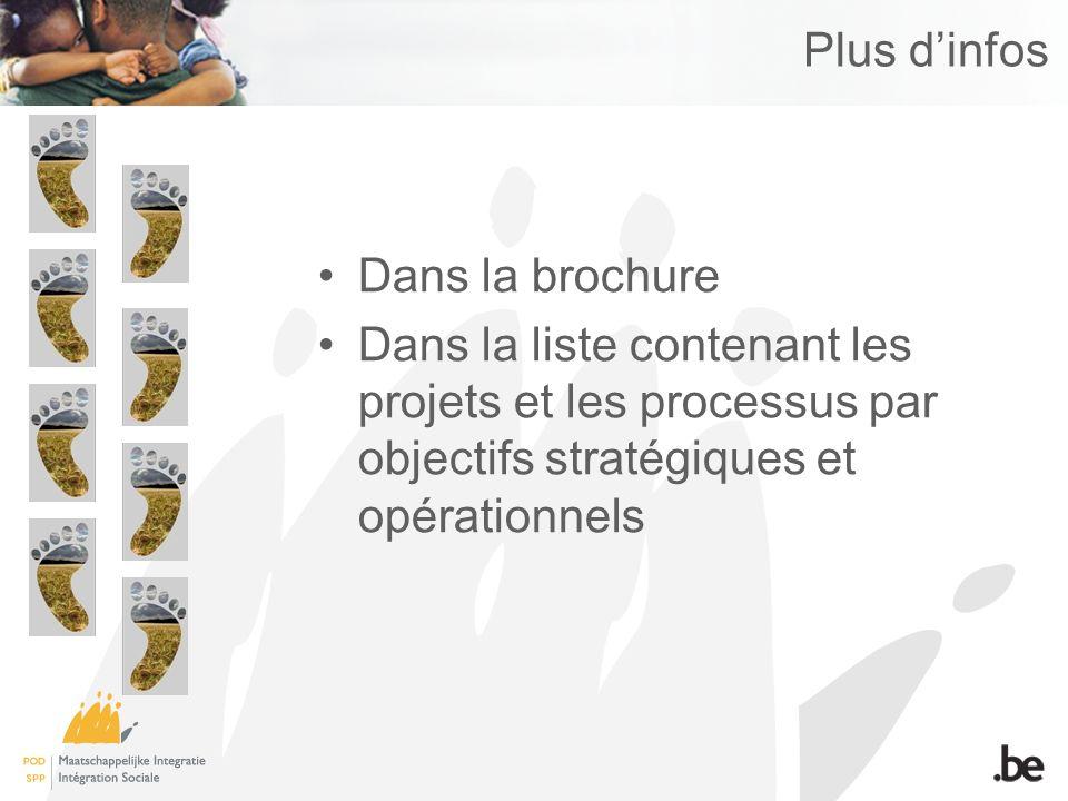 Plus dinfos Dans la brochure Dans la liste contenant les projets et les processus par objectifs stratégiques et opérationnels