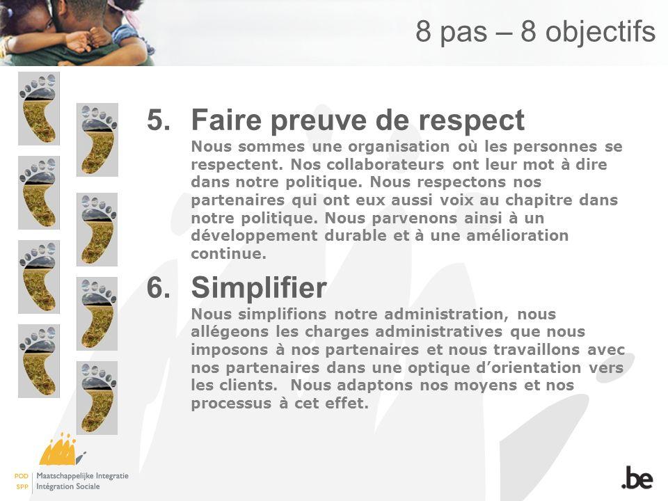 8 pas – 8 objectifs 5.Faire preuve de respect Nous sommes une organisation où les personnes se respectent. Nos collaborateurs ont leur mot à dire dans
