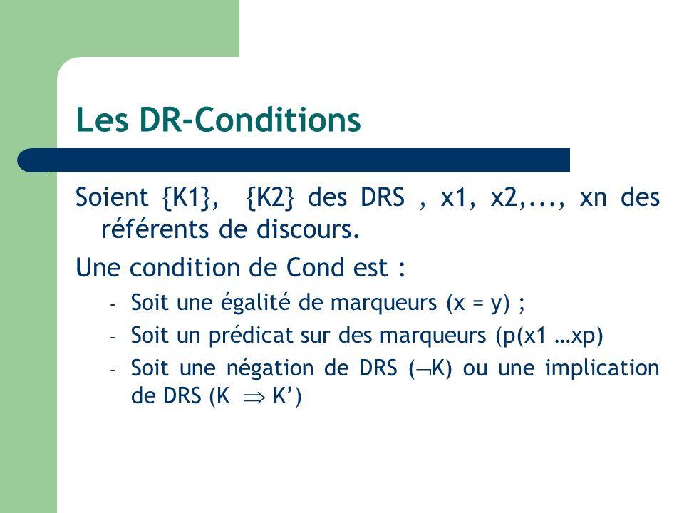 Les DR-Conditions Soient {K1}, {K2} des DRS, x1, x2,..., xn des référents de discours. Une condition de Cond est : – Soit une égalité de marqueurs (x