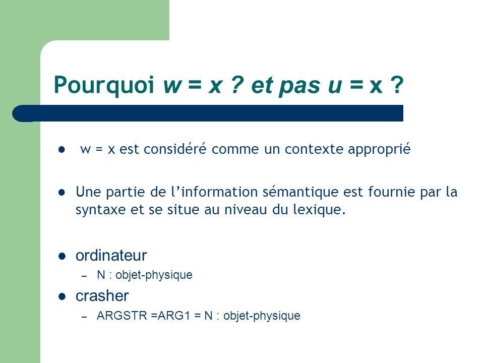 Pourquoi w = x ? et pas u = x ? w = x est considéré comme un contexte approprié Une partie de linformation sémantique est fournie par la syntaxe et se