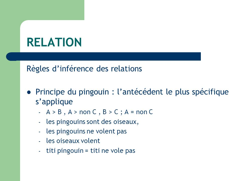 RELATION Règles dinférence des relations Principe du pingouin : lantécédent le plus spécifique sapplique – A > B, A > non C, B > C ; A = non C – les pingouins sont des oiseaux, – les pingouins ne volent pas – les oiseaux volent – titi pingouin = titi ne vole pas
