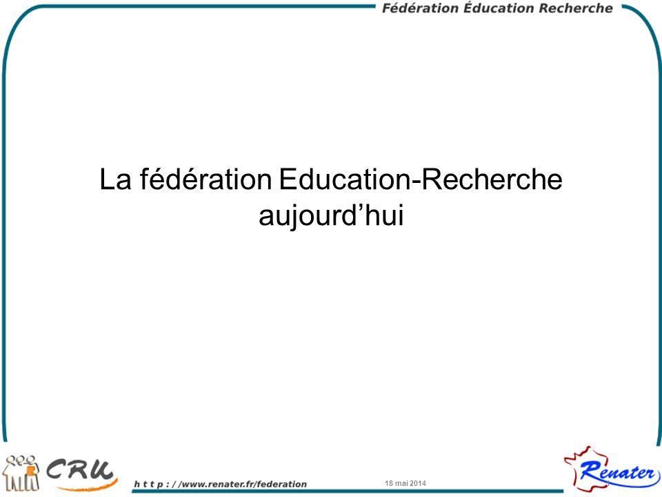 La Fédération Education-Recherche Service opérationnel depuis Janvier 2009 –Continuité de la Fédération du CRU –Opéré conjointement par le CRU et RENATER 18 mai 20142