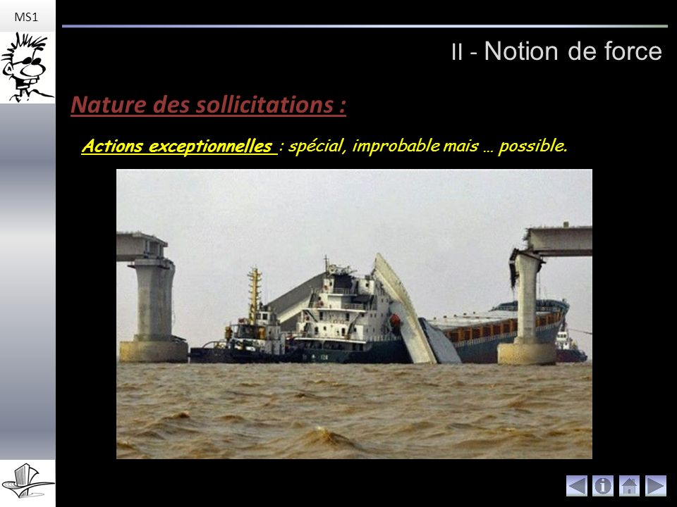 II - Notion de force MS1 Nature des sollicitations : Actions exceptionnelles : spécial, improbable mais … possible.