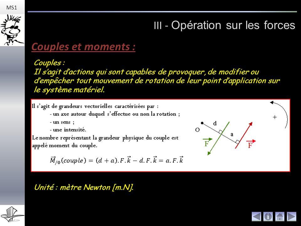 MS1 III - Opération sur les forces Couples et moments : Couples : Il sagit dactions qui sont capables de provoquer, de modifier ou dempêcher tout mouvement de rotation de leur point dapplication sur le système matériel.