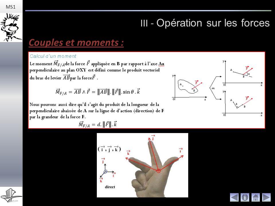 MS1 III - Opération sur les forces Couples et moments :