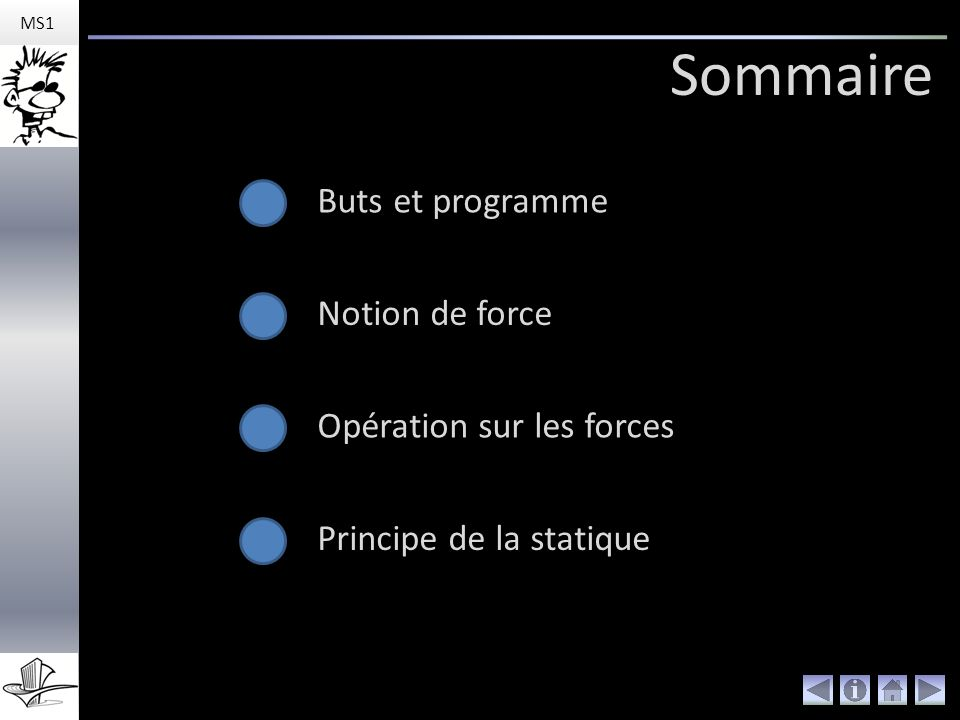 Sommaire Buts et programme Notion de force Opération sur les forces Principe de la statique MS1
