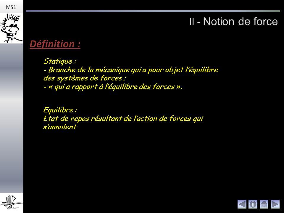 II - Notion de force MS1 Représentation : Une force est une action mécanique (sollicitation) qui se représente par un vecteur et qui se caractérise par : - un sens.