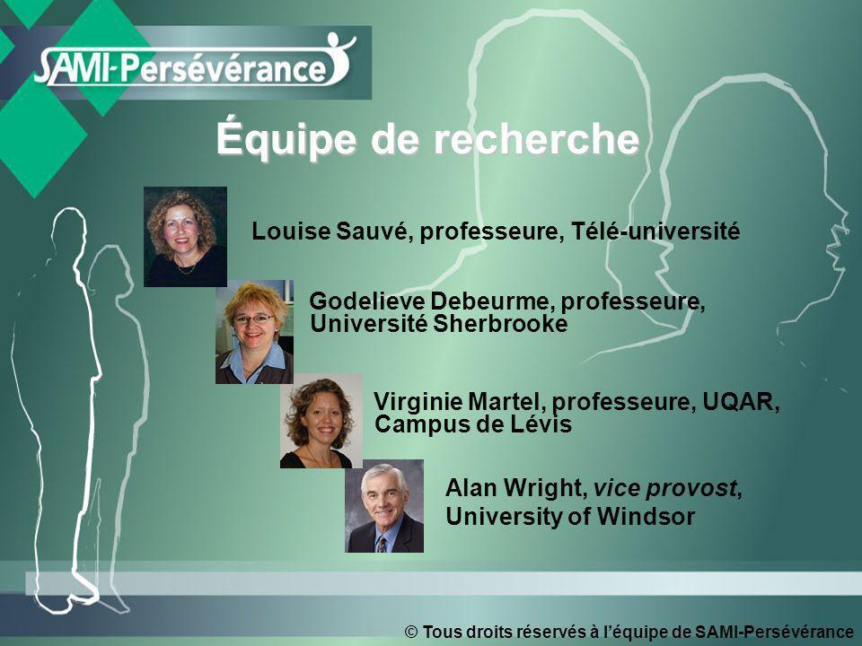 © Tous droits réservés à léquipe de SAMI-Persévérance Équipe de recherche Godelieve Debeurme, professeure, Université Sherbrooke Virginie Martel, prof