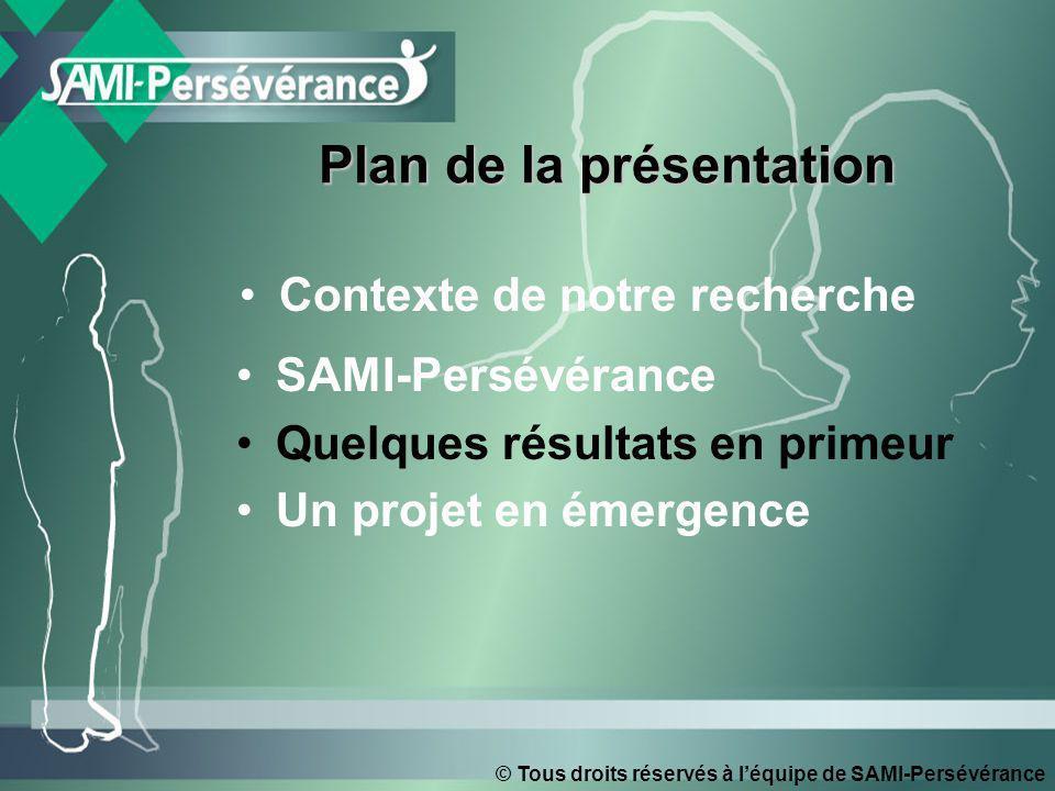 Contexte de notre recherche SAMI-Persévérance Quelques résultats en primeur Un projet en émergence Plan de la présentation