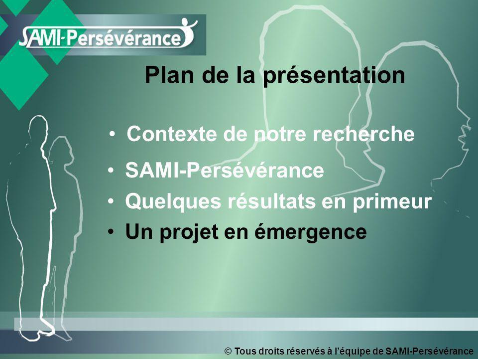 © Tous droits réservés à léquipe de SAMI-Persévérance Contexte de notre recherche SAMI-Persévérance Quelques résultats en primeur Un projet en émergen