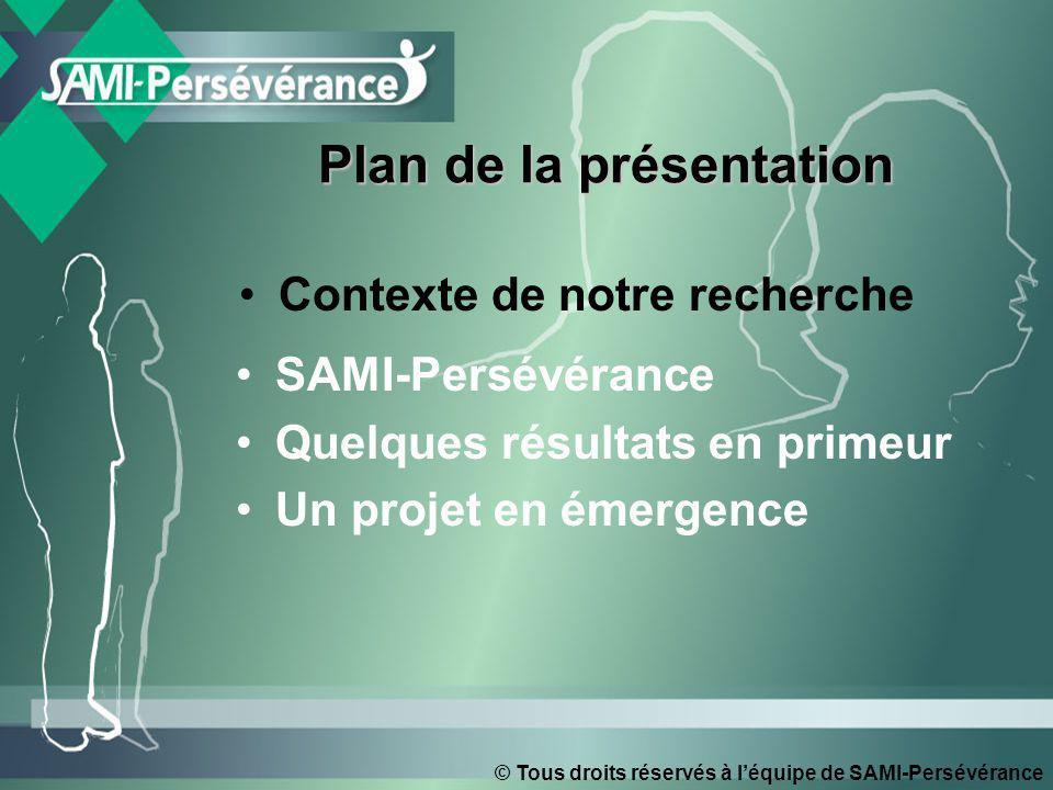 © Tous droits réservés à léquipe de SAMI-Persévérance Contexte de notre recherche SAMI-Persévérance Quelques résultats en primeur Un projet en émergence Plan de la présentation