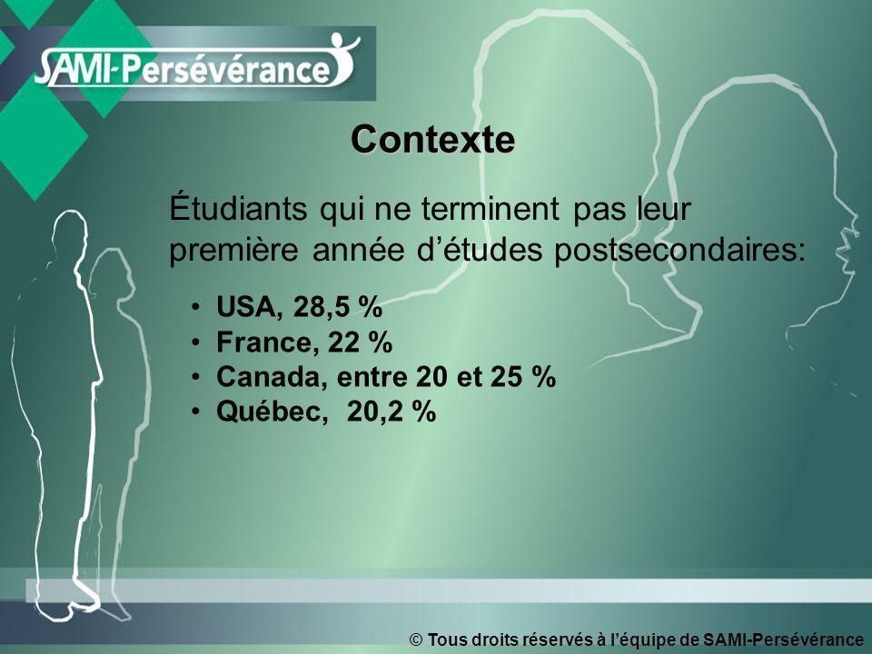 © Tous droits réservés à léquipe de SAMI-Persévérance ContexteContexte Étudiants qui ne terminent pas leur première année détudes postsecondaires: USA, 28,5 % France, 22 % Canada, entre 20 et 25 % Québec, 20,2 %