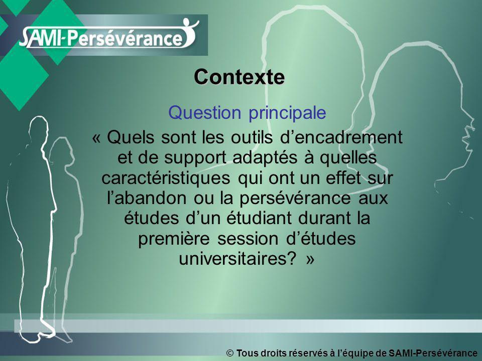 © Tous droits réservés à léquipe de SAMI-Persévérance ContexteContexte Question principale « Quels sont les outils dencadrement et de support adaptés