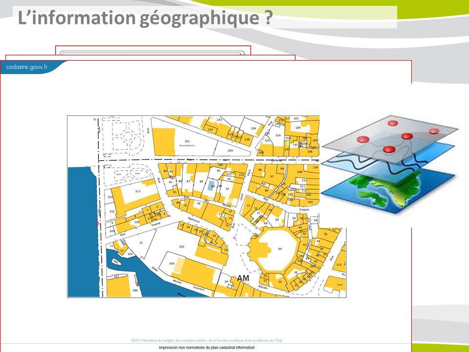 Information géographique : information contenant une référence à un lieu.