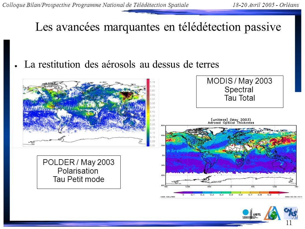 11 Colloque Bilan/Prospective Programme National de Télédétection Spatiale18-20 Avril 2005 - Orléans Les avancées marquantes en télédétection passive