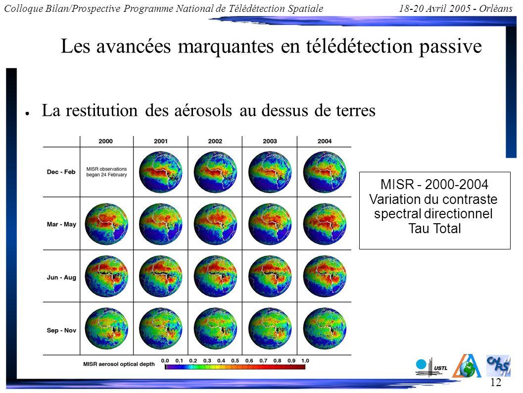 12 Colloque Bilan/Prospective Programme National de Télédétection Spatiale18-20 Avril 2005 - Orléans Les avancées marquantes en télédétection passive La restitution des aérosols au dessus de terres MISR - 2000-2004 Variation du contraste spectral directionnel Tau Total