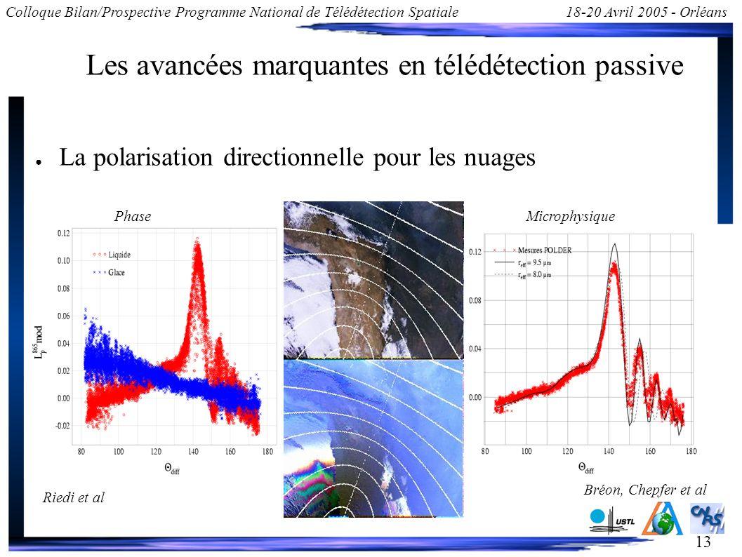 13 Colloque Bilan/Prospective Programme National de Télédétection Spatiale18-20 Avril 2005 - Orléans Les avancées marquantes en télédétection passive