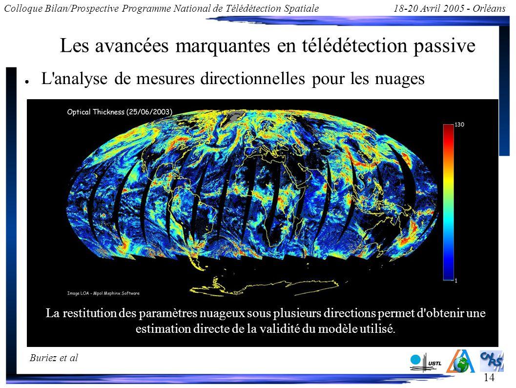 14 Colloque Bilan/Prospective Programme National de Télédétection Spatiale18-20 Avril 2005 - Orléans Les avancées marquantes en télédétection passive