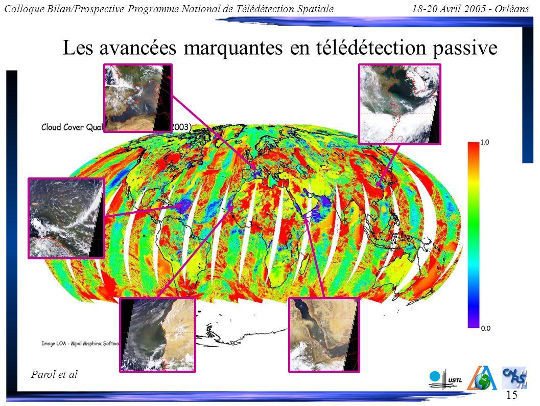 15 Colloque Bilan/Prospective Programme National de Télédétection Spatiale18-20 Avril 2005 - Orléans Les avancées marquantes en télédétection passive La restitution des paramètres nuageux sous plusieurs directions permet d obtenir une estimation directe de la validité du modèle utilisé.