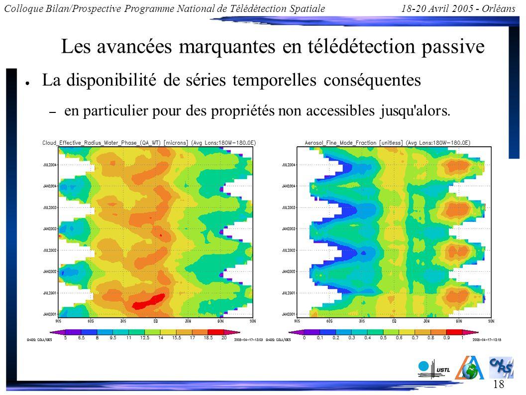 18 Colloque Bilan/Prospective Programme National de Télédétection Spatiale18-20 Avril 2005 - Orléans Les avancées marquantes en télédétection passive
