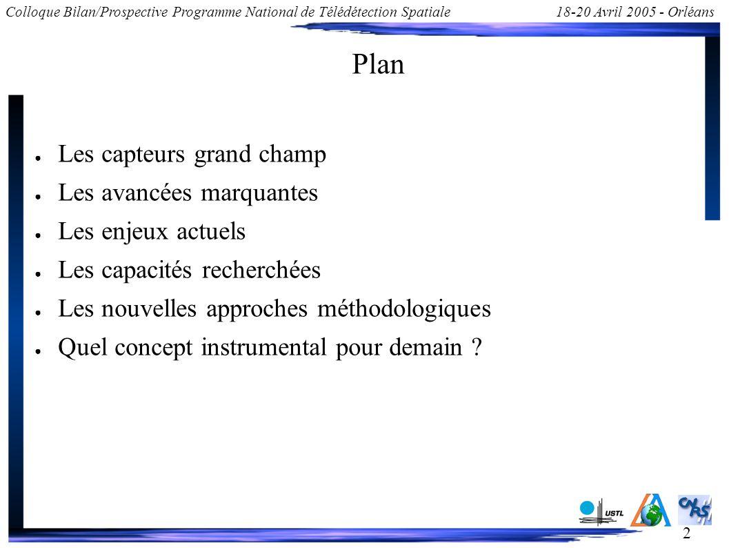2 Colloque Bilan/Prospective Programme National de Télédétection Spatiale18-20 Avril 2005 - Orléans Plan Les capteurs grand champ Les avancées marquan