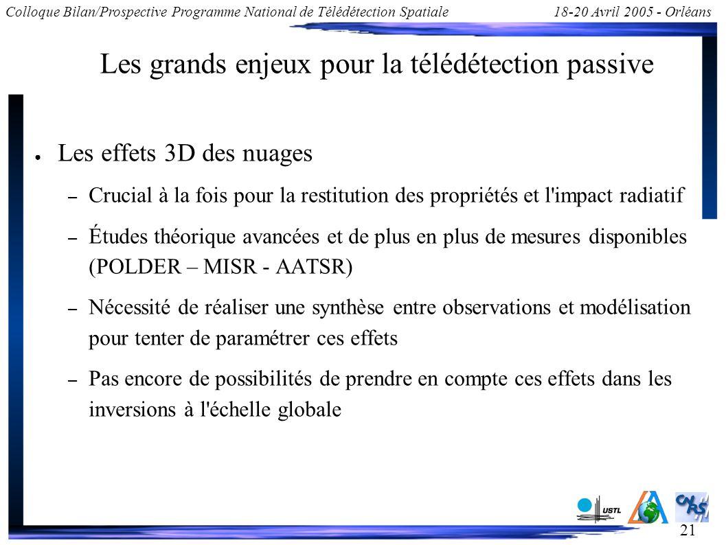 21 Colloque Bilan/Prospective Programme National de Télédétection Spatiale18-20 Avril 2005 - Orléans Les grands enjeux pour la télédétection passive L