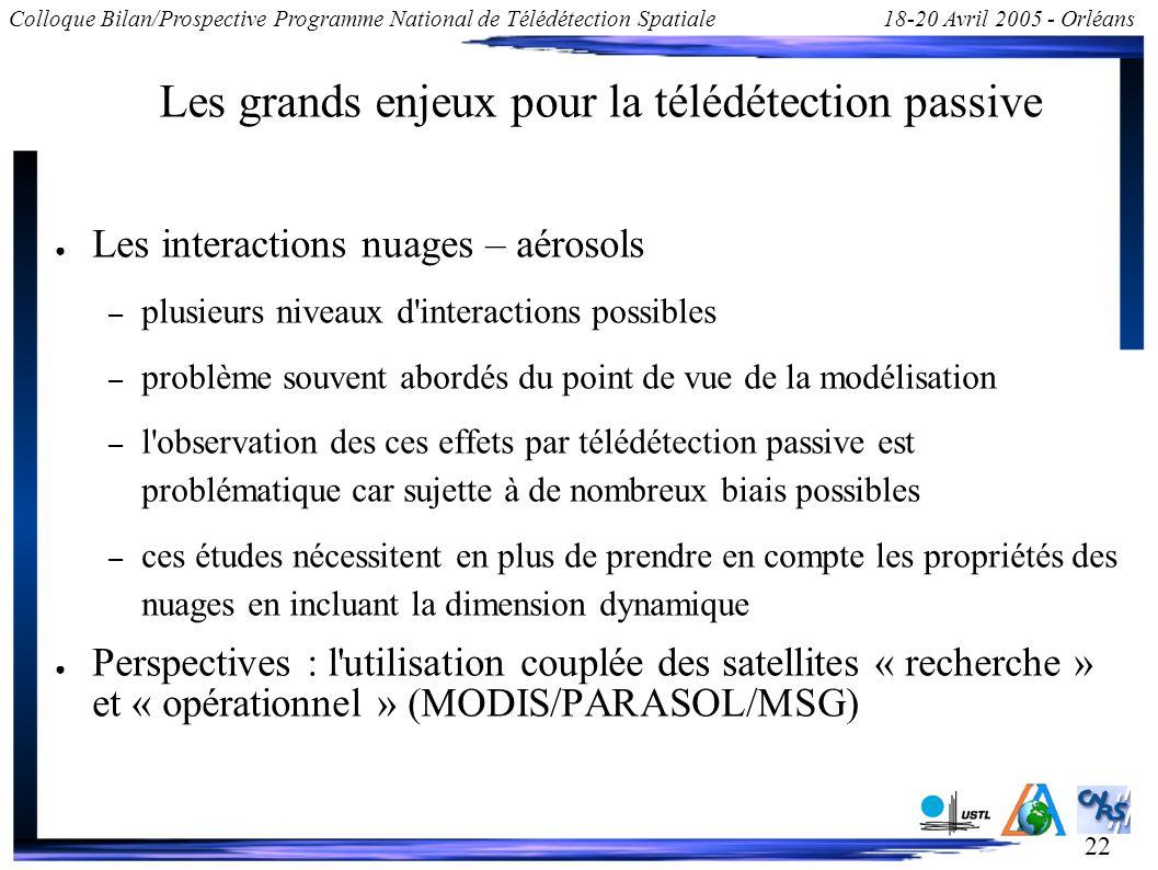 22 Colloque Bilan/Prospective Programme National de Télédétection Spatiale18-20 Avril 2005 - Orléans Les grands enjeux pour la télédétection passive L