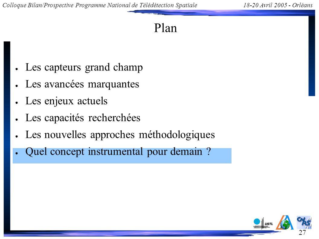 27 Colloque Bilan/Prospective Programme National de Télédétection Spatiale18-20 Avril 2005 - Orléans Plan Les capteurs grand champ Les avancées marqua