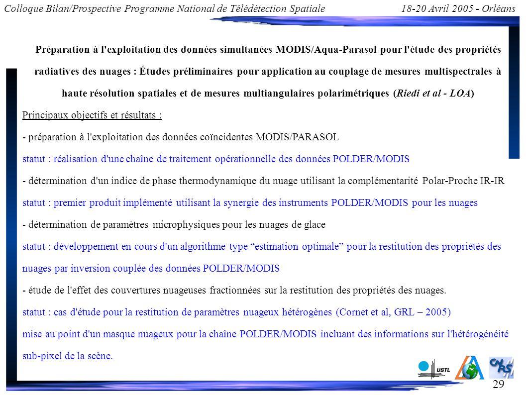 29 Colloque Bilan/Prospective Programme National de Télédétection Spatiale18-20 Avril 2005 - Orléans Préparation à l'exploitation des données simultan