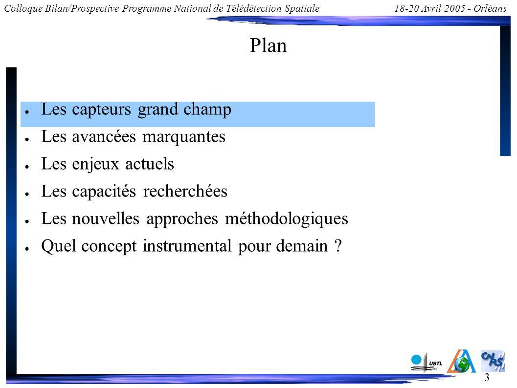 3 Colloque Bilan/Prospective Programme National de Télédétection Spatiale18-20 Avril 2005 - Orléans Plan Les capteurs grand champ Les avancées marquan