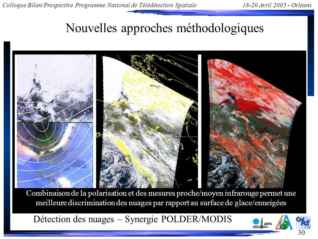 30 Colloque Bilan/Prospective Programme National de Télédétection Spatiale18-20 Avril 2005 - Orléans Nouvelles approches méthodologiques Détection des