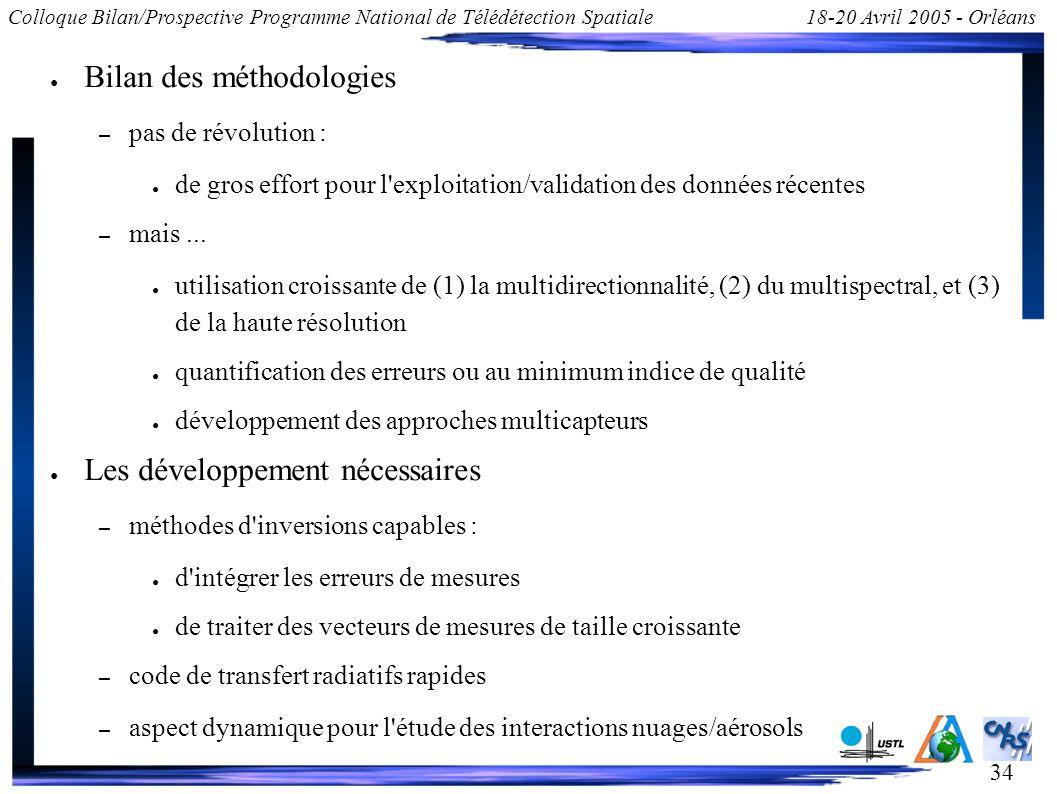 34 Colloque Bilan/Prospective Programme National de Télédétection Spatiale18-20 Avril 2005 - Orléans Bilan des méthodologies – pas de révolution : de