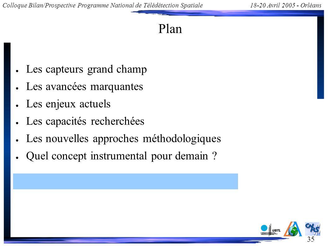 35 Colloque Bilan/Prospective Programme National de Télédétection Spatiale18-20 Avril 2005 - Orléans Plan Les capteurs grand champ Les avancées marqua