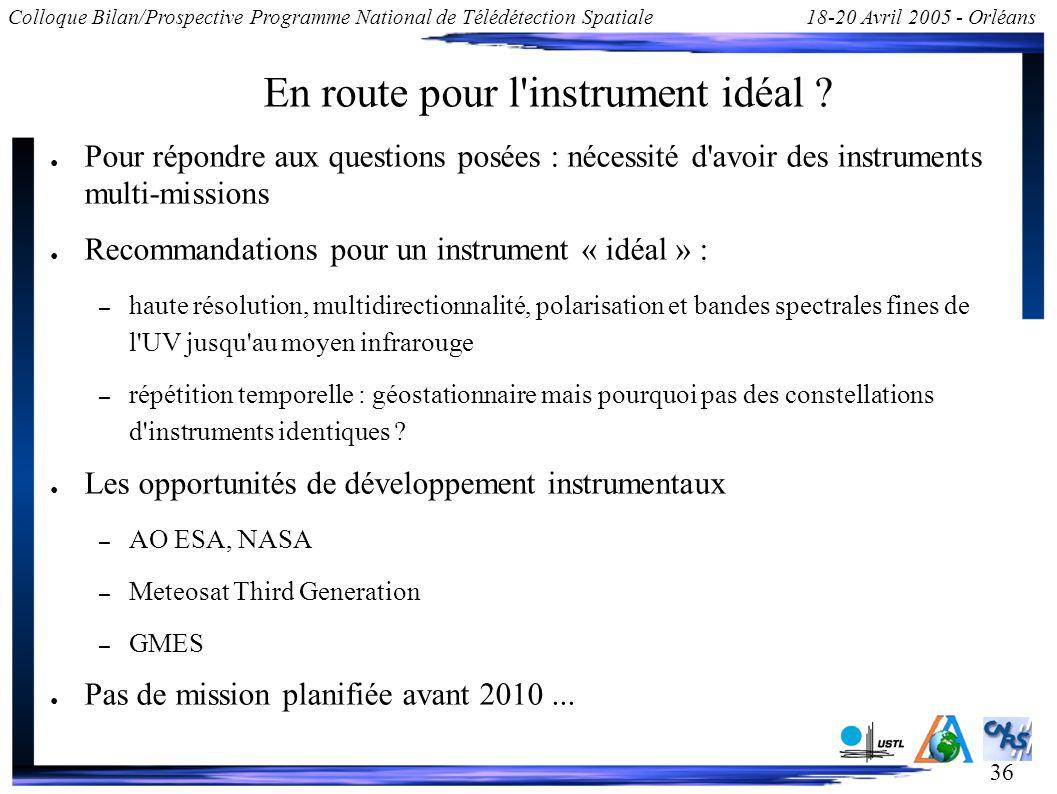36 Colloque Bilan/Prospective Programme National de Télédétection Spatiale18-20 Avril 2005 - Orléans En route pour l'instrument idéal ? Pour répondre