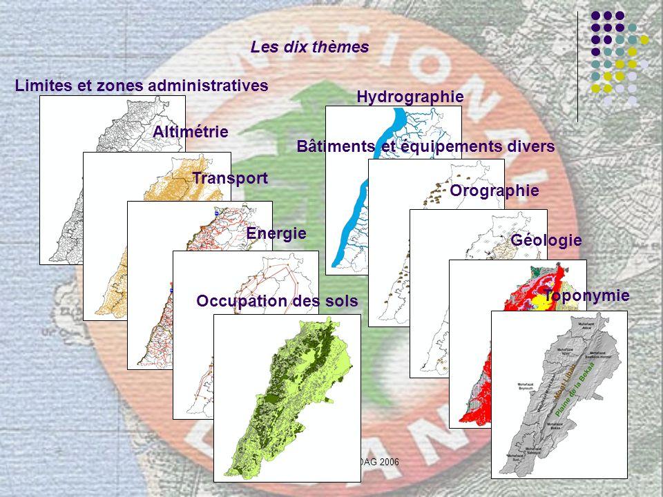 Ing. Amal HUSSEINI - DAG 200613 Les dix thèmes Limites et zones administratives Altimétrie Hydrographie Bâtiments et équipements divers Transport Ener