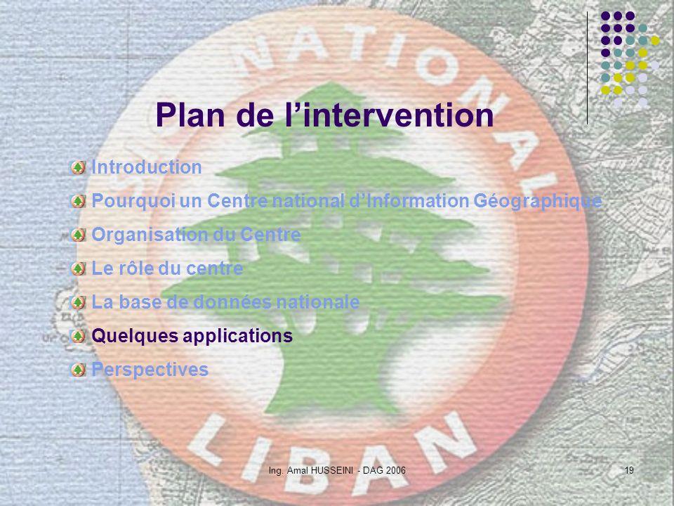 Ing. Amal HUSSEINI - DAG 200619 Plan de lintervention Introduction Pourquoi un Centre national dInformation Géographique Organisation du Centre Le rôl