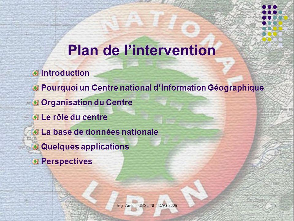Ing. Amal HUSSEINI - DAG 20062 Plan de lintervention Introduction Pourquoi un Centre national dInformation Géographique Organisation du Centre Le rôle