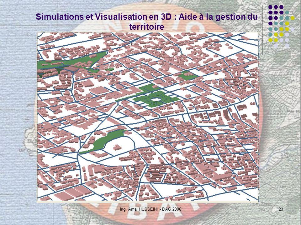 Ing. Amal HUSSEINI - DAG 200623 Simulations et Visualisation en 3D : Aide à la gestion du territoire