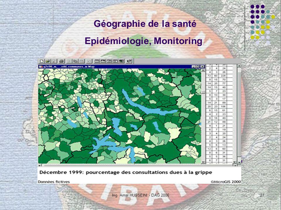 Ing. Amal HUSSEINI - DAG 200627 Avec un SIG : Observer en temps réel de nombreuses caractères épidémiologiques Assurer la surveillance (monitoring) An