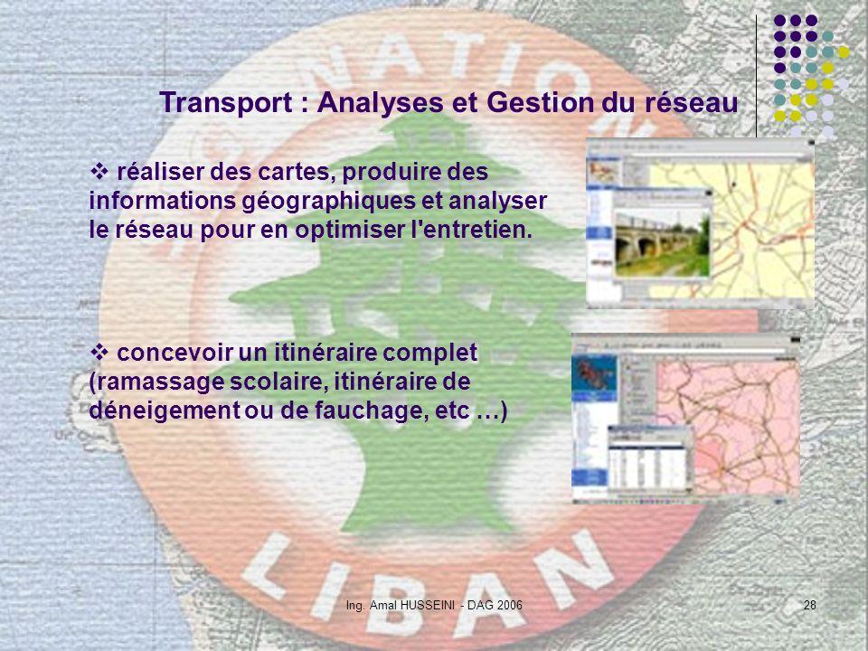 Ing. Amal HUSSEINI - DAG 200628 Transport : Analyses et Gestion du réseau réaliser des cartes, produire des informations géographiques et analyser le