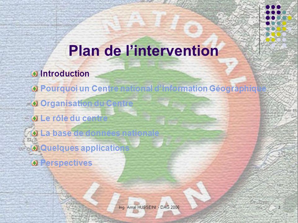 Ing. Amal HUSSEINI - DAG 20063 Plan de lintervention Introduction Pourquoi un Centre national dInformation Géographique Organisation du Centre Le rôle