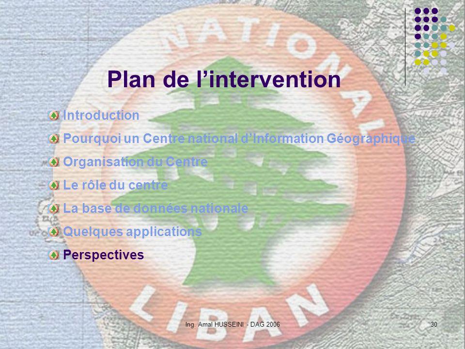 Ing. Amal HUSSEINI - DAG 200630 Plan de lintervention Introduction Pourquoi un Centre national dInformation Géographique Organisation du Centre Le rôl