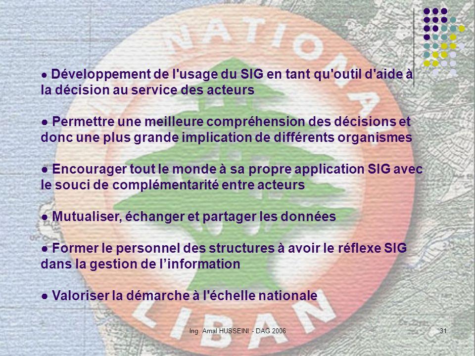 Ing. Amal HUSSEINI - DAG 200631 Développement de l'usage du SIG en tant qu'outil d'aide à la décision au service des acteurs Permettre une meilleure c