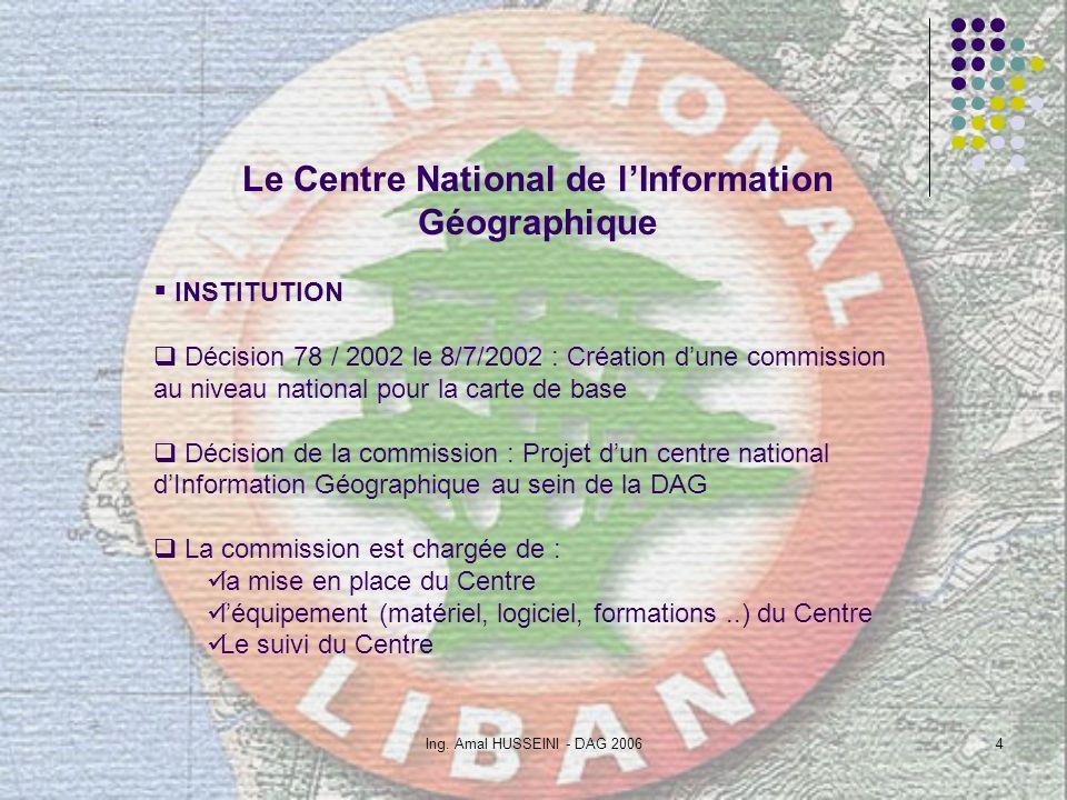 Ing. Amal HUSSEINI - DAG 20064 Le Centre National de lInformation Géographique INSTITUTION Décision 78 / 2002 le 8/7/2002 : Création dune commission a