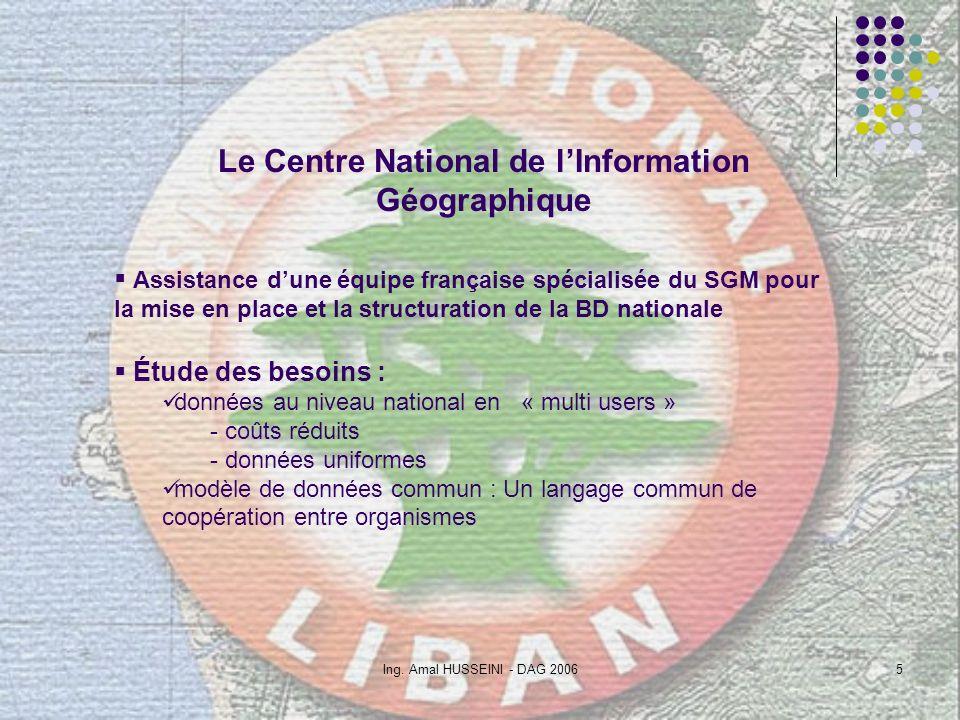 Ing. Amal HUSSEINI - DAG 20065 Le Centre National de lInformation Géographique Assistance dune équipe française spécialisée du SGM pour la mise en pla