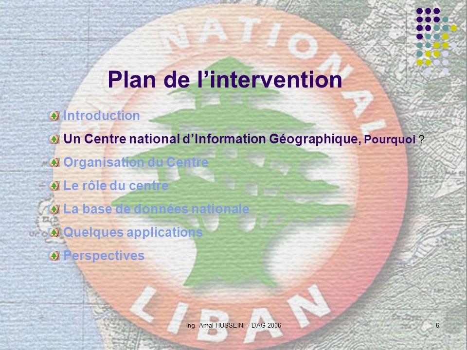 Ing. Amal HUSSEINI - DAG 20066 Plan de lintervention Introduction Un Centre national dInformation Géographique, Pourquoi ? Organisation du Centre Le r