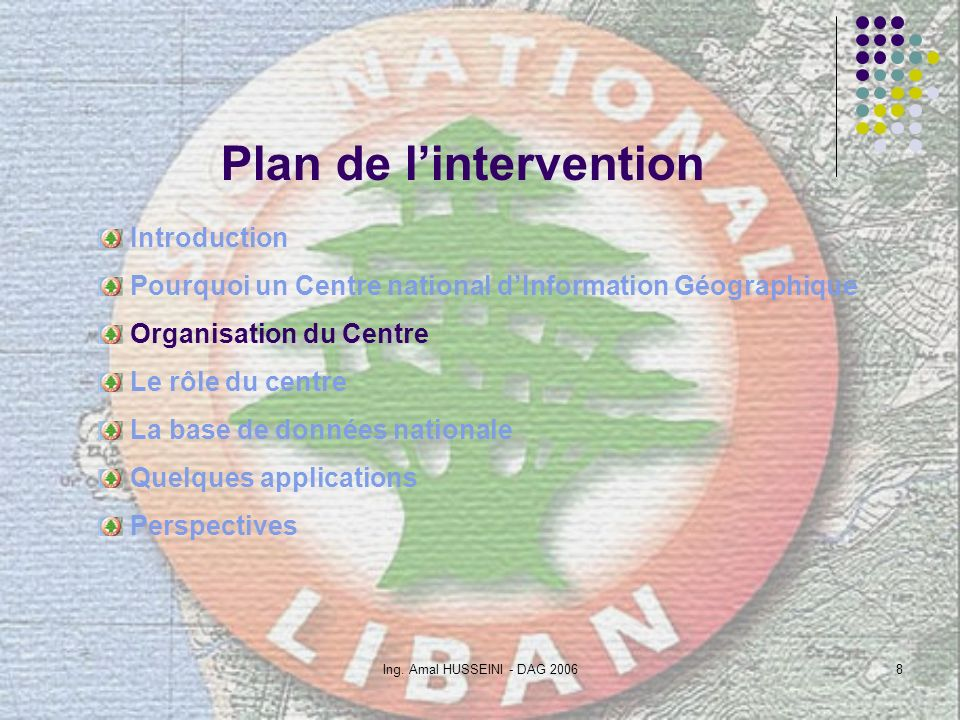 Ing. Amal HUSSEINI - DAG 20068 Plan de lintervention Introduction Pourquoi un Centre national dInformation Géographique Organisation du Centre Le rôle