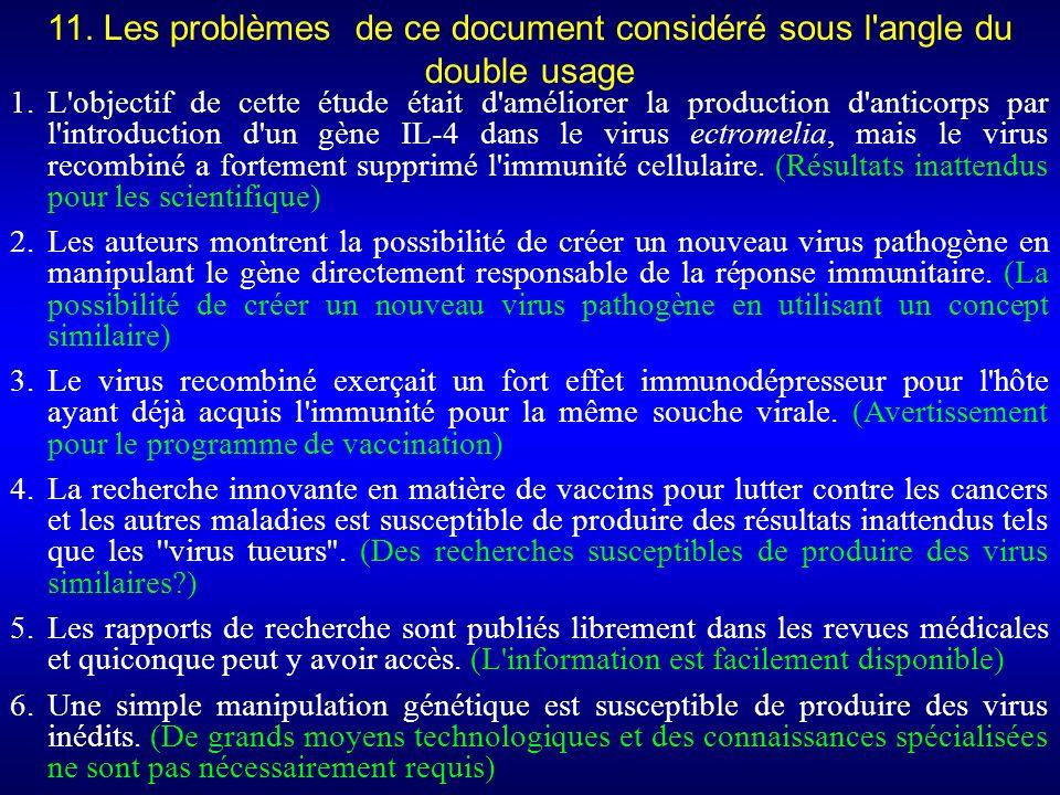 1.L objectif de cette étude était d améliorer la production d anticorps par l introduction d un gène IL-4 dans le virus ectromelia, mais le virus recombiné a fortement supprimé l immunité cellulaire.